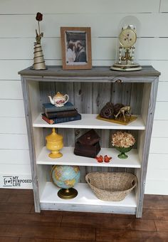 My Repurposed Life IKEA Billy bookcase makeover with reclaimed wood