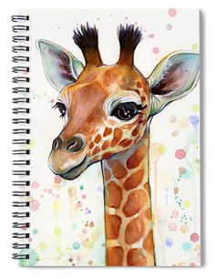 "Baby Giraffe Watercolor Spiral Notebook in 6x8"" with 120 lined pages. #notebook #giraffe #spiralnotebook"