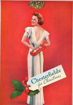 Just what everyone wants for Christmas... cigarettes. Vintage fashion pinup 1937 advertisement for Chesterfield cigarettes.