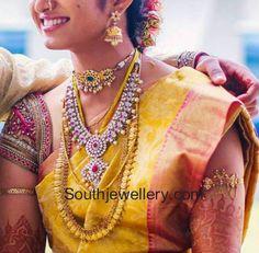 South Jewellery: Bride in Kasu Mala and Polki Diamond Necklace Bridal Blouse Designs, Saree Blouse Designs, Indian Attire, Indian Outfits, Indian Jewellery Design, Jewellery Designs, Gold Jewellery, India Jewelry, Traditional Indian Wedding