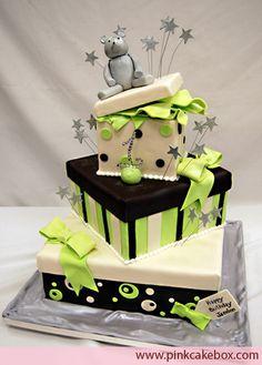 Teddy Bear Presents – 1st Birthday Cake by Pink Cake Box  Pink Cake Box  18 East Main St #101  Denville, NJ 07834  973-998-4445