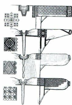 Folk Embroidery Tutorial photo Kriy-Naddnistranschina-T-Nikolaeva. Russian Embroidery, Folk Embroidery, Learn Embroidery, Embroidery Patterns, Cross Stitch Patterns, Clothing Patterns, Sewing Patterns, Ukrainian Dress, Russian Folk