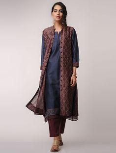 Brown Block-printed Chanderi Front-open Jacket by Jaypore Jacket Style Kurti, Kurti With Jacket, Pakistani Dresses, Indian Dresses, Indian Outfits, Kurta Designs Women, Blouse Designs, Dress Designs, Ethnic Fashion