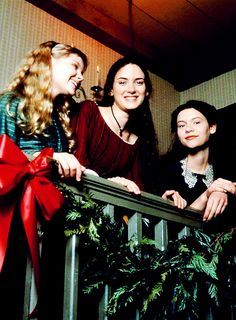 Winona Ryder, Claire Danes and Kirsten Dunst on the set of Little Women.
