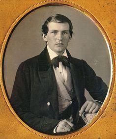 """The caption on this was in German and meant, """"show original image"""". This is such an attractive, clean-cut, all-together young gent (herr), I couldn't resist saving his image even though it is probably a tintype. I hope he achieved something grand and good in his life. Mid 1860s"""