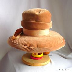 Good Looking MR JOHN Velvet Hat / 1960s Wide Brim Tall Crown / New Look Burnt Apricot / Winter Weight by GoodEye on Etsy