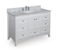 Abbey 48-inch Solid Wood Bathroom Vanity (Carrera/White): Includes Soft Close Drawers, Self Closing Door Hinges and Rectangular Ceramic Sink - Amazon.com