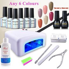 FairyGlo (Pick Any 6 Colors) Nude Gel Nail Polish Soak Off Top Base + 36W UV Lamp + Manicure Tools Collection Cleanser Plus Nail Files Removers Buffer Nipper Push Gift Set DIY. HOW TO PICK COLORS: 1. We will send message to you after you placing order to ask for 6 colors you want. 2. Please have a look at the left picture of the product website and respond the MESSAGE with 6 color numbers you want within 24 hours then we will arrange the colors for you. REMINDER: Required to be cured…