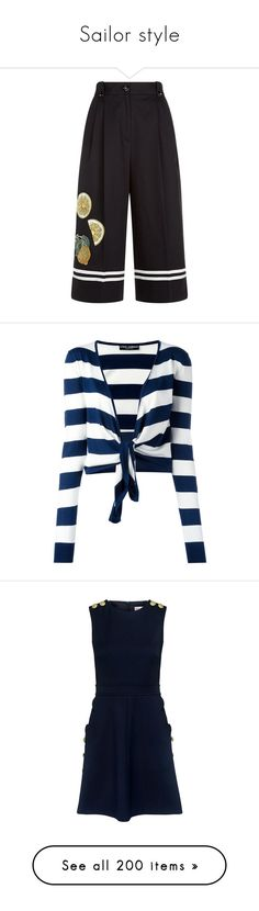 """""""Sailor style"""" by lence-59 ❤ liked on Polyvore featuring pants, capris, chiffon trousers, dolce gabbana pants, sailor button pants, wide leg pants, wide leg sailor pants, tops, cardigans and stripe top"""