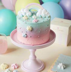 #party #pastel #babyshowerideas Small Birthday Cakes, 9th Birthday Cake, Rainbow Birthday Cakes, Unicorn Rainbow Cake, Birthday Cakes Girls Kids, Meringue Cake, Buttercream Cake, Rainbow Smash Cakes, Peggy Porschen Cakes