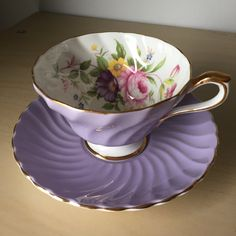 Aynsley Purple Vintage Teacup and Saucer, Flower Bouquet Lavender Tea Cup and Saucer, English Floral Bone China from CupandOwl on Etsy. Tea Cup Set, My Cup Of Tea, Tea Cup Saucer, Decoupage Vintage, Antique Tea Cups, Vintage Teacups, Vintage China, Lavender Tea, China Tea Sets