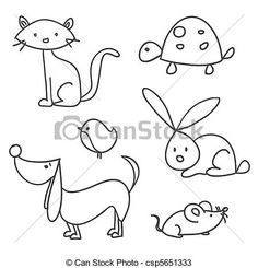 Stock Illustration - Hand drawn cartoon pets - stock illustration, royalty free illustrations, stock clip art icon, stock clipart icons, logo, line art, pictures, graphic, graphics, drawing, drawings, artwork @ http://www.canstockphoto.com/hand-drawn-cartoon-pets-5651333.html