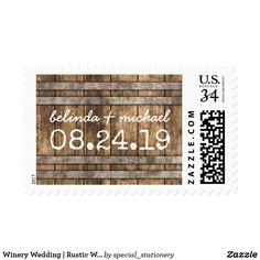 Winery Wedding | Rustic Wooden Barrel Postage Country vineyard wedding postage stamps featuring a simple rustic wooden wine barrel and modern wedding wording.
