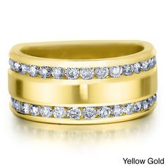 Amore 14k Gold 1ct TDW Diamond Anniversary Wedding Band (H-I, I1-I2) (Yellow Gold - 8), Women's (solid)