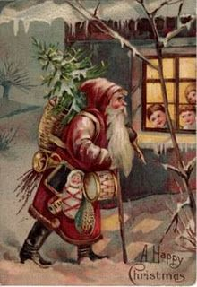 Vintage Santa walking past house with tree on shoulder - children looking out window