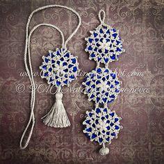 Crochet Bracelet and Necklace Set Pattern - Boho DIY Fiber Jewelry - Wrist Cuff - Tassel Necklace - PDF instant download - Snowflake on Royal Blue