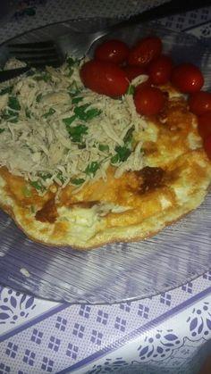 Dica da Ana Paula - omelete, frango e tomate