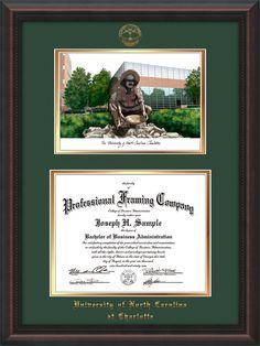 university of north carolina charlotte diploma frame with seal watercolor green - Diploma Frames With Tassel Holder