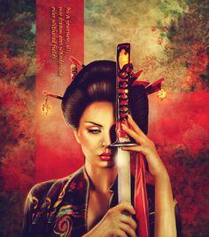 Inspiring Digital Art by Kimsol Female Samurai Tattoo, Samurai Warrior, Fantasy Warrior, Fantasy Art, Tatoo Geisha, Tattoo Guerreiro, Katana Girl, Amazon Girl, Samurai Artwork