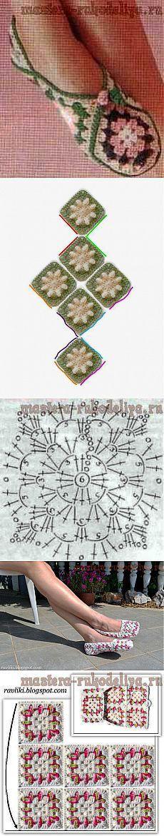 Тапочки из бабушкиных квадратов.