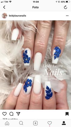 Classy Acrylic Nails, Acrylic Nails Coffin Short, Blue Acrylic Nails, 3d Nail Designs, Crazy Nail Designs, Stylish Nails, Trendy Nails, Gorgeous Nails, Fabulous Nails