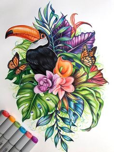 ▷ 1001 + ideas and tutorials for easy flowers to draw + pictures easy-flowers-to-draw-toucan-bird-flowers-butterflies-around-it-colored-drawing-white-background Pencil Art Drawings, Art Drawings Sketches, Easy Drawings, Animal Drawings, Flower Drawings, Simple Flower Drawing, Butterfly Drawing, Marker Kunst, Marker Art