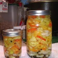 Pickled Hot Peppers Allrecipes.com Going to try this with the peppers from my garden