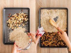 Ideální svačina? Domácí müsli tyčinky, které zvládne upéct každý! - Proženy Muesli, Coconut Flakes, How To Dry Basil, Healthy Life, Oatmeal, Spices, Food And Drink, Herbs, Breakfast