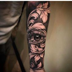 New black art tattoo ideas eyes 64 Ideas Forarm Tattoos, Leg Tattoos, Body Art Tattoos, Tattoo Drawings, Sleeve Tattoos, Cool Tattoos, Sketch Tattoo, Baroque Tattoo, Filigree Tattoo