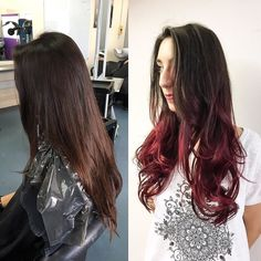 Kind of front/side on view of the balayage that I did yesterday on @tarzandesbois she came in with virgin hair this is the first time she's gone a bright colour #bbloggers #balayage #redhair #virginhair #wella