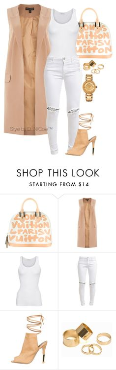"""""""Untitled #3284"""" by stylebydnicole ❤ liked on Polyvore featuring Louis Vuitton, Lipsy, American Vintage, FiveUnits, Pieces and Versace"""