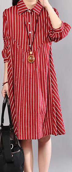 a8bfd01b0e88 stylish summer dress plus size Stripe Polo Collar Half Sleeve Cotton Red  Pullover Dress