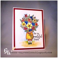 Expressions: July SOTM Blog Hop - My Beautiful Friend Send A Card, My Beautiful Friend, Alcohol Markers, Paper Hearts, Heart Cards, Close To My Heart, My Stamp, Scrapbook Pages, Cardmaking