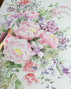 Thu Ha Kueng @autumnriverstudio  SOLD! This bouquet has found a new home! Thank you to the buyers for your support. It means a lot to me. ❤️ Watercolor Flowers, Watercolor Art, Spring Bouquet, Watercolor Illustration, Floral Wreath, Autumn, River, Studio, Instagram