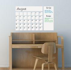 Dry Erase Calendar| Writable Dry Erase Wall Decal| WallsNeedLove