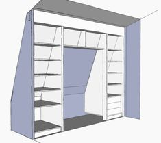 inbouwkast Wouter Mikkers v1-3 Attic Bedroom Closets, Attic Bedroom Designs, Attic Closet, Attic Design, Attic Rooms, Walk In Closet, Pantry Closet, Closet Shelves, Closet Remodel