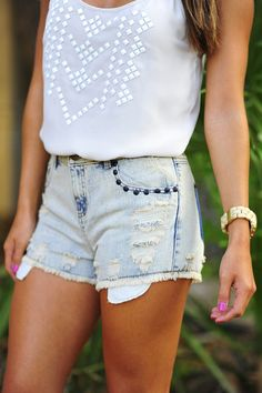 Cool denim short and strapless top fashion style. . . click on pic to see more