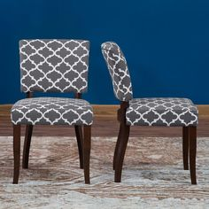 Belham Living Paige Open Back Dining Chair - Grey Quatrefoil - Set of 2 - 3188-S-R-MY-SY-530F-17