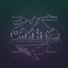 Whale and Mountains Landscape on Dark Background by Olga_km Whale and mountains landsape on dark background. Modern flat linear vector illustration. Nature and sealife exploration print.