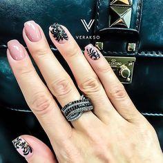 Beautiful nails 2016, Beautiful patterns on nails, Black and beige nails, Black pattern nails, Evening nails, Festive nails, Long nails, Nails trends 2016