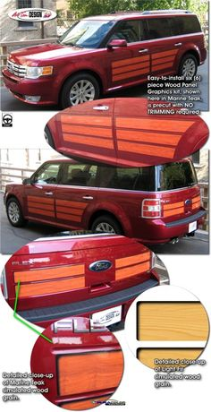 Vehicle Specific Graphic kits for Ford Flex that are Precut and ready to install. Ford Flex, Wood Trim, Station Wagon, Wood Paneling, Woody, Dream Cars, Kit, Campervan Ideas, Trucks