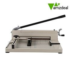 """Amzdeal ® 17"""" Steel Heavy Duty Manual Guillotine Paper Cutter Trimmer Machine White w/ Inches Ruler Capacity 400 Sheets A3 for Office Commercial Photocopy Printing Shop"""