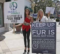 Models hold anti-fur protest at DASH...while Kim Kardashian enjoys well-timed holiday