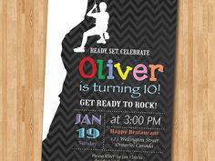 Rock Climbing Birthday Party Invitation. Ready to Rock. Chalkboard. Teen Sport. Black and White Chevron. Printable Digital DIY.
