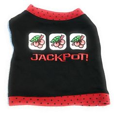Dog Shirt Size XS Pet Puppy Pup Clothes Attire Black Red Jackpot Cherries #SimplyDog