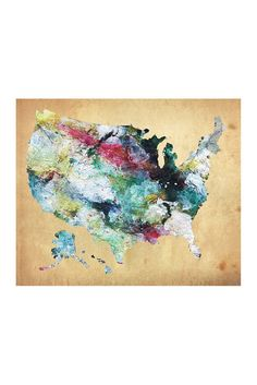 Image of PTM Images USA Watercolor Map Giclee Box Wall Art - 20x24