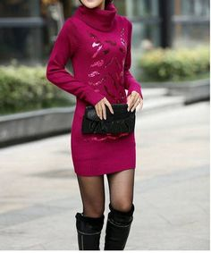 Rose Sweet Style Turtle Neck Sequin Embellished Long Sleeves Slimming Thickened Sweater For Women Red Sweaters, Pullover Sweaters, Sweaters For Women, Sequin Sweater, Sexy Corset, Sammy Dress, Cheap Dresses, Korean Fashion, Women Wear