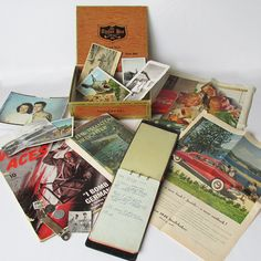 Vintage Cigar Box Full of 1940s Treasures - 1940s Memory Box - WWII Era by leapinglemming on Etsy