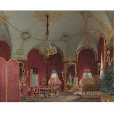 ARISTOCRATIC RUSSIAN ST. PETERSBURG INTERIOR; Andrei Alexeevich Redkovsky, signed and inscribed in Cyrillic and dated 1866, watercolor on paper.