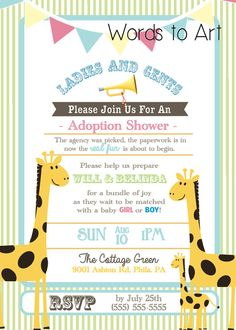 such adorable invitations for an adoption shower that im having thank you so - Adoption Party Invitations